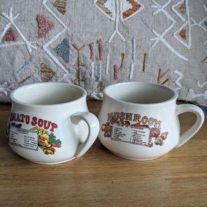Mushroom soup tomato soup vintage bowls